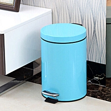 Fashion Round Stainless Steel Household Hotel Office Covered Pedal Trash Bin, Size: 7L(Blue)