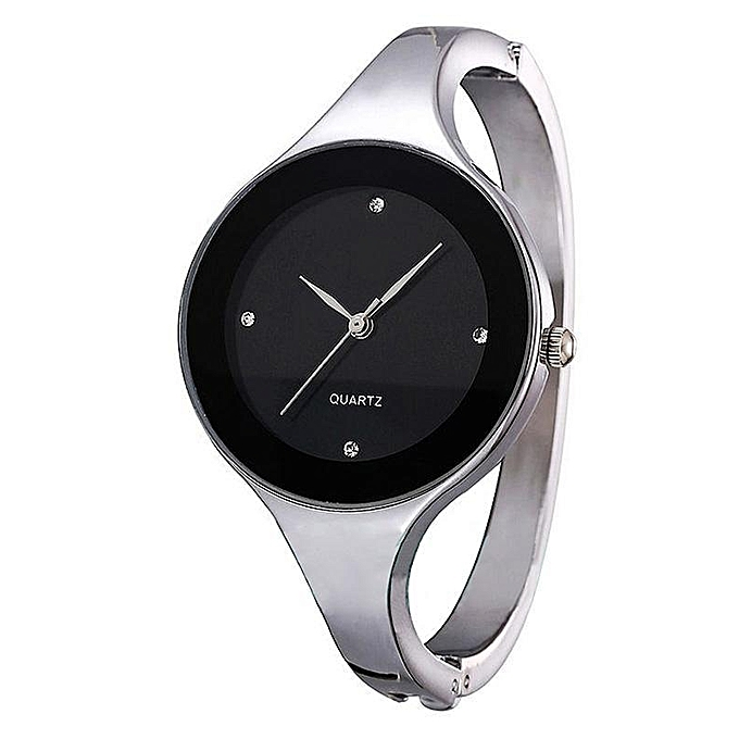 Women Fashion Bangle Watch Stainless Steel Bracelet Wristwatch Analog Quartz Wrist Watch-Black