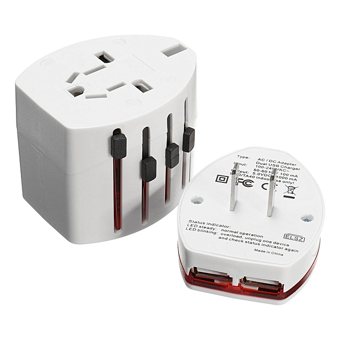 Universal Travel AC Power Charger Adapter Converter AU/UK/US/EU Plug 2 USB  Ports (WHITE)