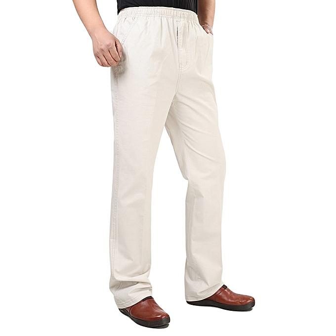 b9d87ac5 Mens 100% Cotton Loose Full-Length Casual Pants Elastic Waist Breathable  Work Slacks