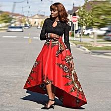 Xiuxingzi New African Women Printed Summer Boho Long Dress Beach Evening Party Maxi Skirt