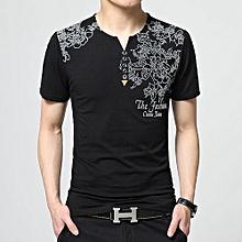 Men's Plus V-neck Floral Short Sleeve Shirt (Black)