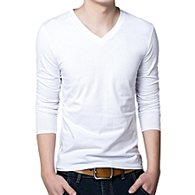 Men Slim Fit V-Neck Casual T-Shirt - White
