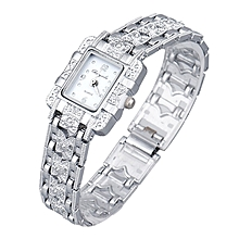 bluerdream-Popular Fashion Lady Bling Jewelry Stainless Steal Analog Wrist Watches -white