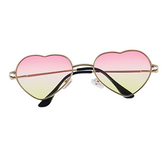 6e0dee0b3a Retro Girl UV400 Metal Frame Heart Shaped Sunglasses Gradient Shades Lens