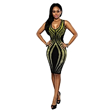 Womens African Print V-neck A-line Bodycon Dress Yellow