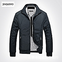 Plus size Men's Jacket Coat Slim Fit Stand Collar Winter Long Sleeve Jacket-black
