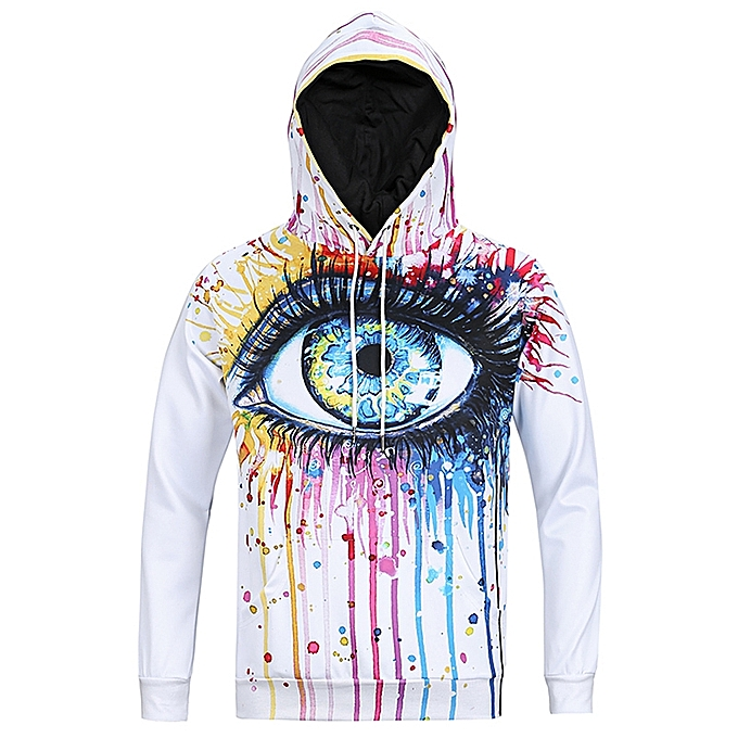 buy popular 42a12 41ac0 Men 3D Print Pullover Hoodies Hooded Sweatshirt - White