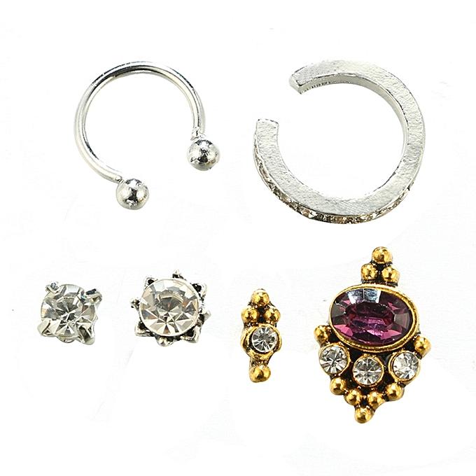 6pcs Set Fashion Punk Rhinestone Ear Studs Clip Earrings Women Jewelry Gift Mix Color