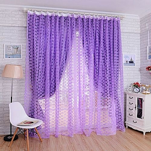 Rose Voile Blackout Curtains Living Room Window Tulle Sheer Purple