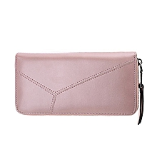 Women Zipper Purse Multifunctional Hand Bag PU Leather Money Organizer Wallet light pink