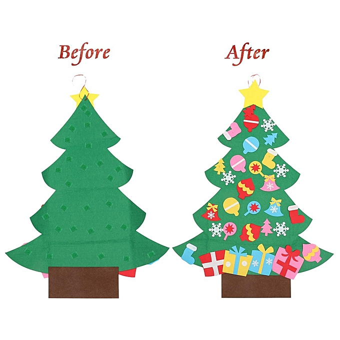 Kids Diy Felt Christmas Tree Set With Ornaments Door Wall Hanging Decoration Toddler Children Christmas Gift