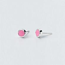 Sweet Pink Round 925 Sterling Silver Stud Earrings
