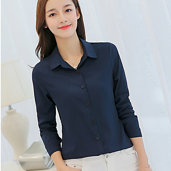 6bf43450ef0 TB Spring   Summer Female Long-sleeved Casual Chiffon Shirt Slim Bottoming  Tops navy blue