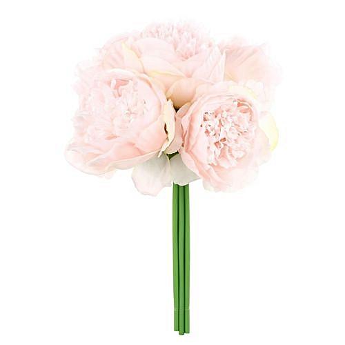 Generic Silk Peony Bouquet 5 Heads Artificial Fake Flower Bunch Bouquet Bridal Bouquet Wedding Living Room