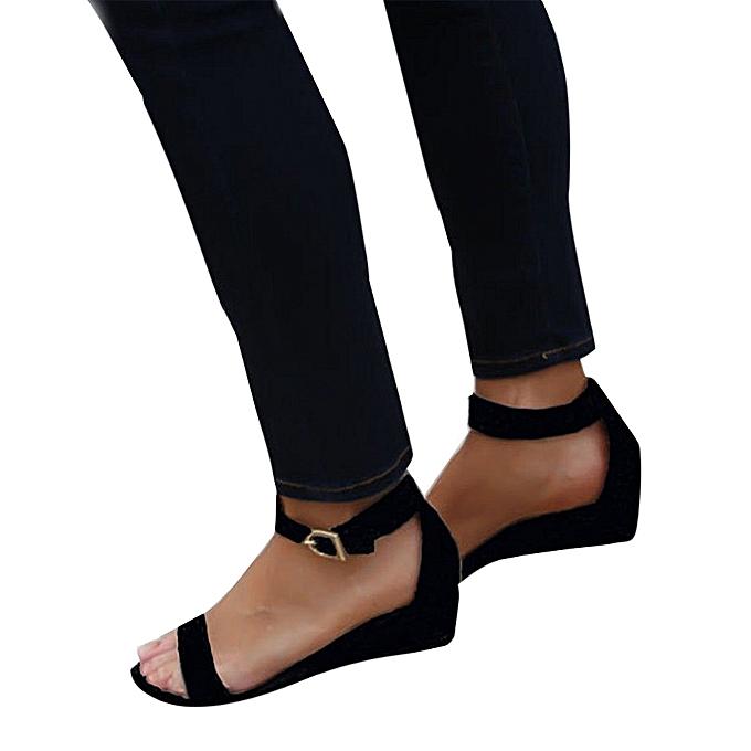 4d87d753f6b23 birthpar store Women Fashion Flock Thick High Heel Zip Solid Sandals Peep  Toe Casual Shoes-