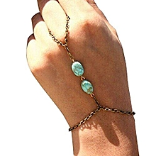 Bocideal 1PC Hot Sale Fashion Retro Bronze Turquoise Bracelet Finger Ring Bangle Slave Chain