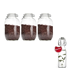 3-Piece 4000ml Airtight Retro Glass Jar with Clip Lid (Clear Glass): Kitchen Preserving Storage Jars + FREE 500ml Water Jar