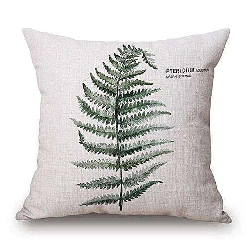 Universal New Modern Plain Cushion Covers Linen Green Plants Throw