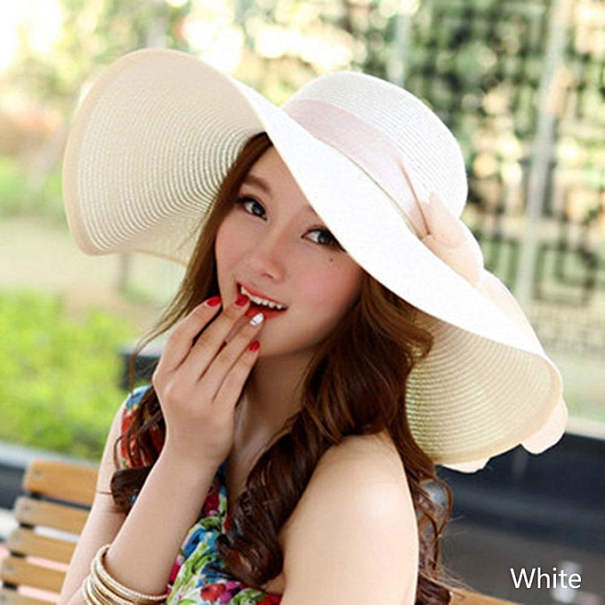 acea83cdd Women Foldable Wide Large Brim Summer Beach Sun Hat White
