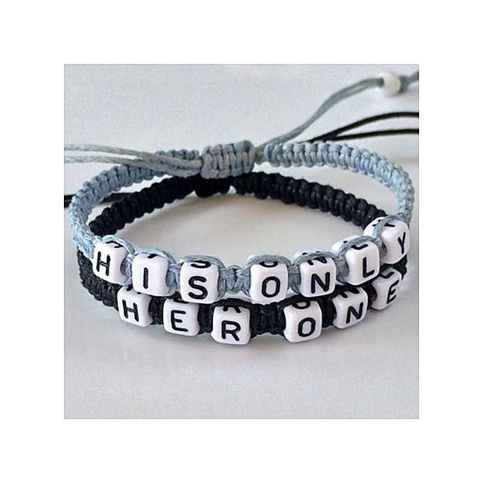 S Boyfriend Friend Handmade Letter Beads Knitted Bracelet 2pcs Black Light Blue