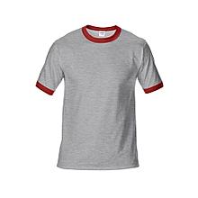 Men's DryBlend Preshrunk Contrast Neck T-Shirt (Grey/Red)
