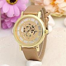 Leather Watch Women Dress Watches Men Luxury Brand Hollow Skeleton Watch(Gold)