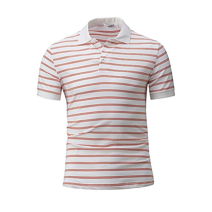 7a18e235d760 Fashion Men Polo Shirt Striped Printing Collar Short Sleeve T-shirt ...