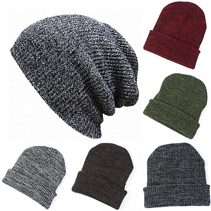 cede6437 Wenrenmok Store Women Men Hat Warm Ear Protection Crochet Solid Color Winter  Knit Caps -Red