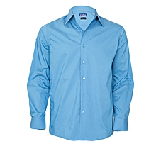 Azure Blue Long Sleeved Slim Fit Shirt