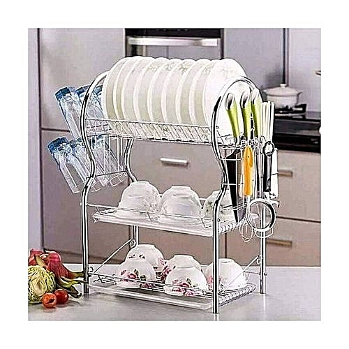Buy Generic Generic 3 Tier Dish Rack Utensils Rack Stainless Steel