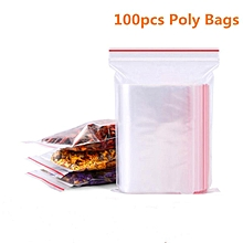 100pcs Resealable Plastic Seal Ziplock Bags Self Adhesive Clear Sealable Poly Polyethylene Food Bag Packing