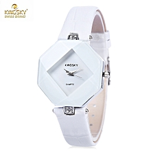 KINGSKY 1807 Women Quartz Watch Solid Mirror Leather Band Daily Water Resistance Wristwatch