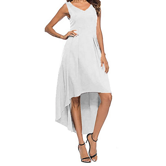 6fd5e7df44c4 paidndh store Women's Summer Fashion Sexy V-neck Strapless Slim Solid Color  Dress-White