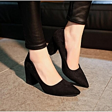 High heels Shoes Ladies Women - Wedge Sneakers Flat Boot Pumps Official Casual Wedding - BLACK