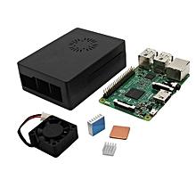 4 In 1 Raspberry Pi 3 Model B + Black ABS Case + Aluminum Copper Heat Sink + Cooling Fan Kit