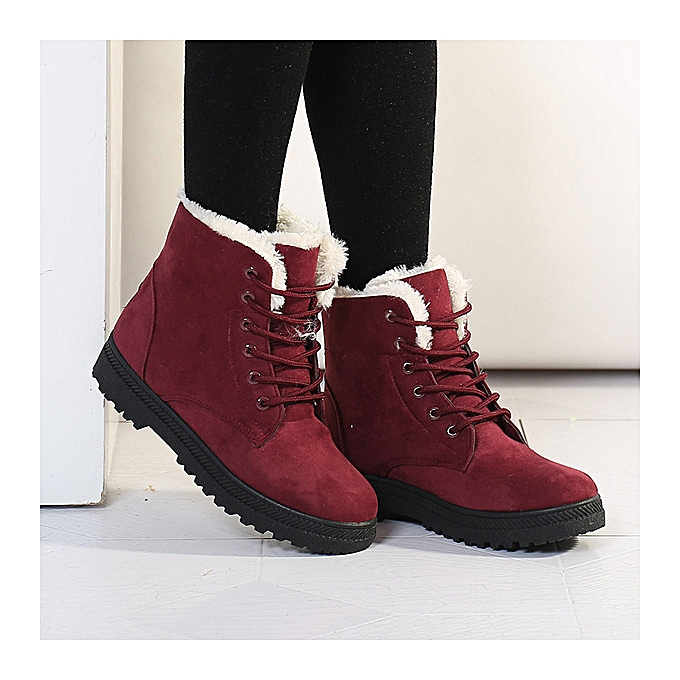 7fb8cae0121a2 Fashion Women Snow Boots New Fashion Women s Winter Autumn Warm Thick  Lining Soft Shoe Platform Ankle Lace-Up Wearproof Slip Shoes