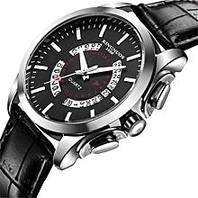 Fashion temperament diamond calendar height waterproof Leather quartz watch  Silver