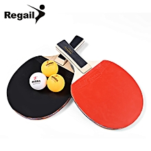 A508 Table Tennis Ping Pong Racket Two Long H+le Paddle Three Balls - Black