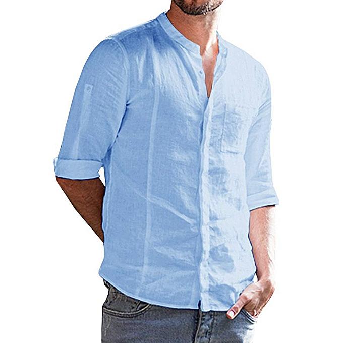 6dea69e541de jiuhap store Mens Roll-up Long Sleeve Button Solid Banded Collar Fit Shirt  Top Blouse