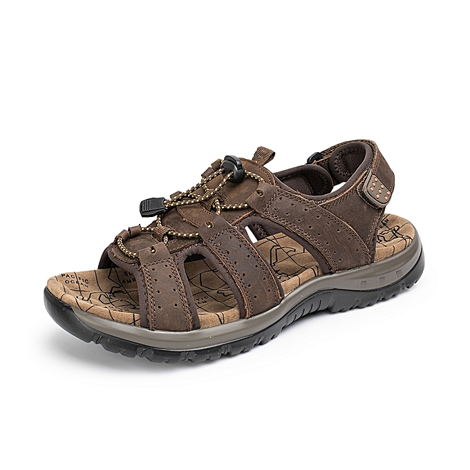 42b591bcfd8b2 US Size 6-9.5 Men Casual Outdoor Leather Sandals Breathable Comfortable  Beach Flat Shoes