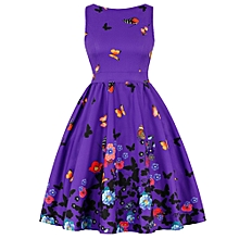 Butterfly Print Floral Prom Dress - Purple