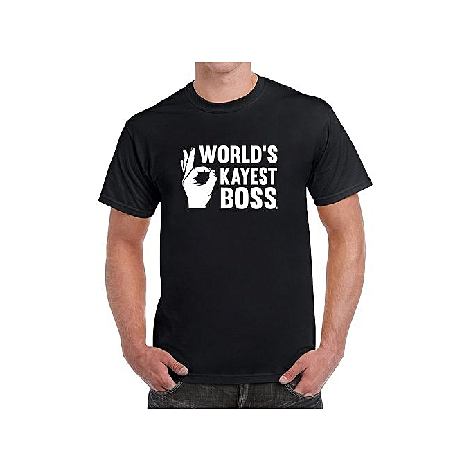 643c2de1a World's Okayest Boss Men's Funny T-Shirt Fashion Short Sleeved T Shirts  Black Summer Funny