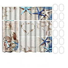 Summer Seashells Beach Shower Curtain Set Fabric Bathroom Curtains Accessories Shower Curtain