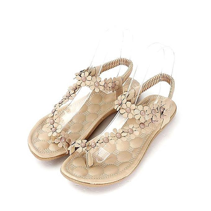 588ce6fa9667 Fashion Summer Womens Bohemia Floral Sandals Flat Shoes Strappy Beach Flip  Flops-EU