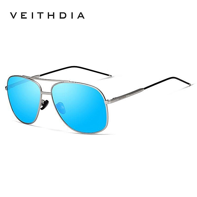 838aa5161b6 Veithdia 2495 Fashion Vintage Oval Frame Men Polarized Sunglasses (Silver- Blue) XBQ-