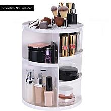 360°Rotating Spin Cosmetic Organizer Makeup Desktop Box Storage Rack Case Holder White