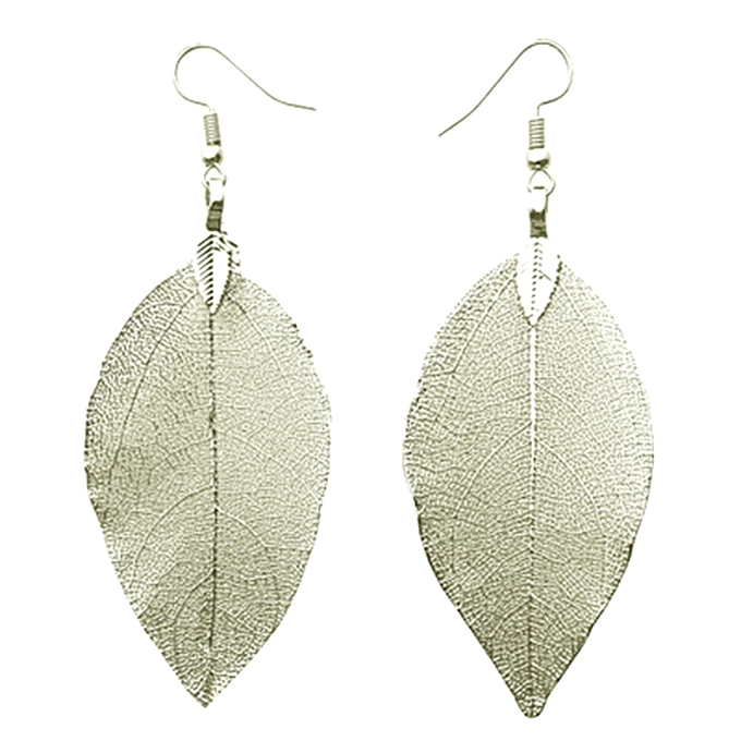 Exaggerated Statement Long Drop Earrings Natural Real Leaf For Women Fashion Jewelry