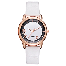 Watch Women Fashion Luxury Leisure Set Auger Leather Stainless Steel Quartz Watch -White