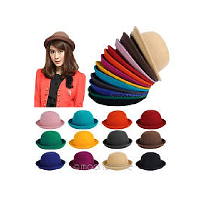 0a29dad8bb3 Vogue Hat Ladies Women Fashion Vintage Wool Cute Trendy Solid Bowler Derby  Hat